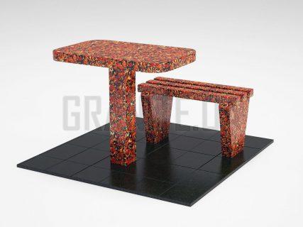 Лавка + Стіл LS-01 Капустинський граніт