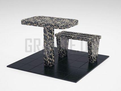 Лавка + Стіл LS-01 Корнинський граніт