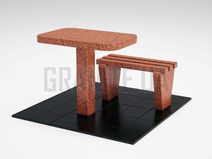 Лавка + Стіл LS-01 Лезниківський граніт