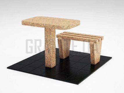 Лавка + Стіл LS-01 Межиріцький граніт