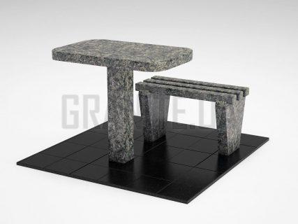 Лавка + Стіл LS-01 Рогівський граніт