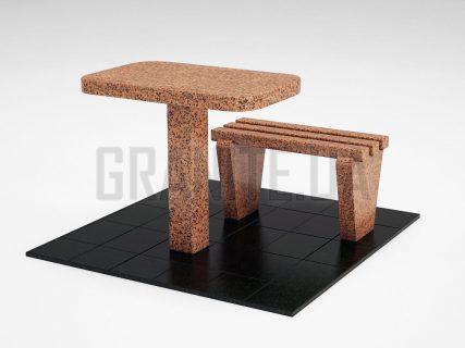 Лавка + Стіл LS-01 Симонівський граніт