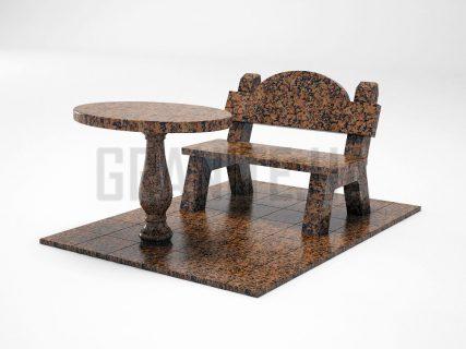 Лавка + Стіл LS-03 Омел'янівський граніт