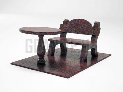 Лавка + Стіл LS-03 Кишинський граніт