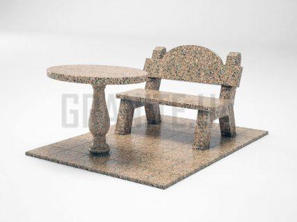 Лавка + Стіл LS-03 Межиріцький граніт