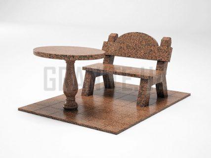Лавка + Стіл LS-03 Симонівський граніт