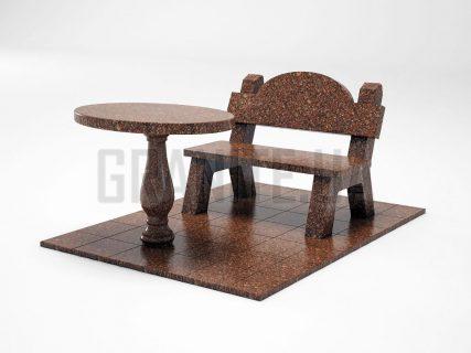 Лавка + Стіл LS-03 Токівський граніт