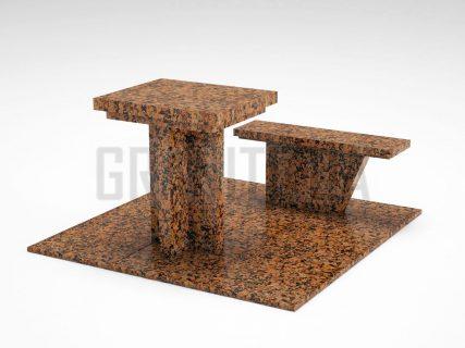 Лавка + Стіл LS-04 Омел'янівський граніт