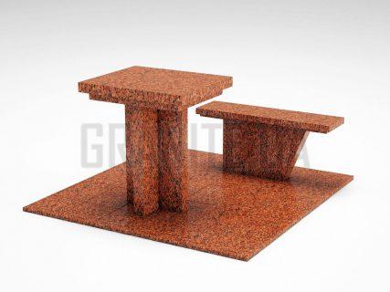 Лавка + Стіл LS-04 Лезниківський граніт