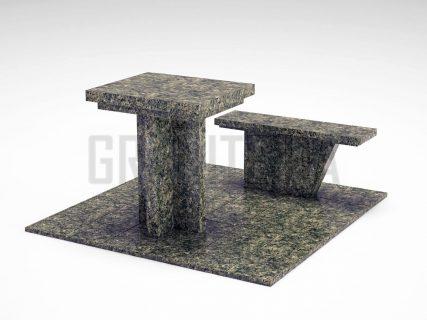 Лавка + Стіл LS-04 Рогівський граніт