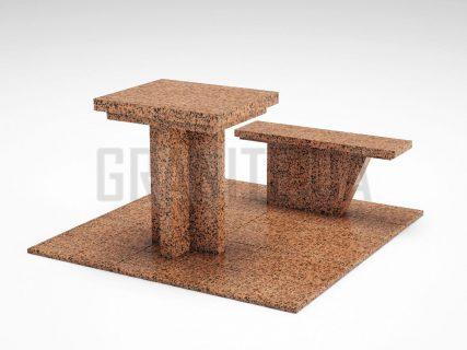 Лавка + Стіл LS-04 Симонівський граніт