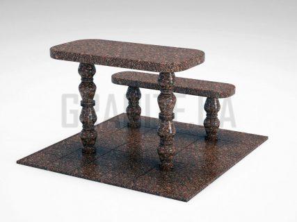 Лавка + Стіл LS-05 Токівський граніт