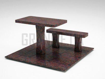 Лавка + Стіл LS-06 Кишинський граніт