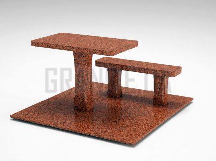 Лавка + Стіл LS-06 Лезниківський граніт