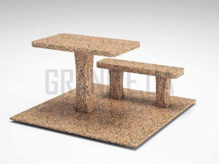 Лавка + Стіл LS-06 Межиріцький граніт