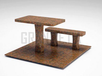 Лавка + Стіл LS-06 Новоданилівський граніт