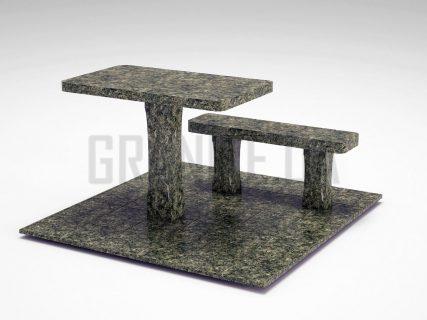 Лавка + Стіл LS-06 Рогівський граніт