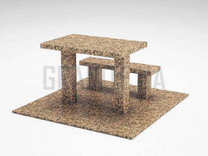 Лавка + Стіл LS-07 Дідковицький граніт