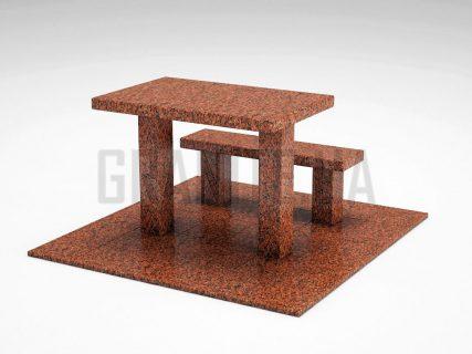 Лавка + Стіл LS-07 Лезниківський граніт