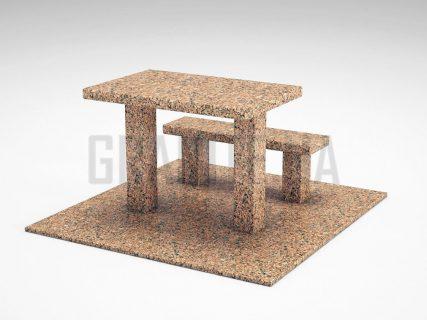 Лавка + Стіл LS-07 Межиріцький граніт