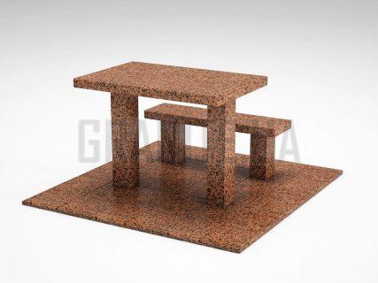 Лавка + Стіл LS-07 Симонівський граніт