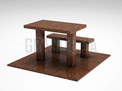 Лавка + Стіл LS-07 Токівський граніт