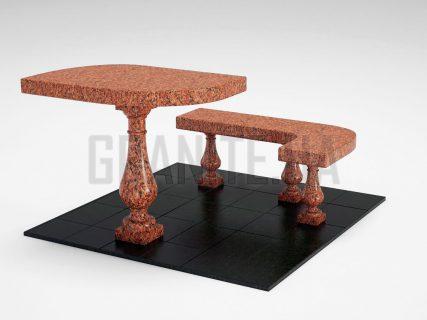 Лавка + Стіл LS-09 Лезниківський граніт