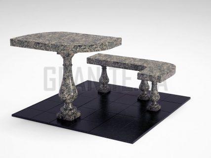 Лавка + Стіл LS-09 Рогівський граніт