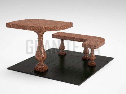 Лавка + Стіл LS-09 Токівський граніт