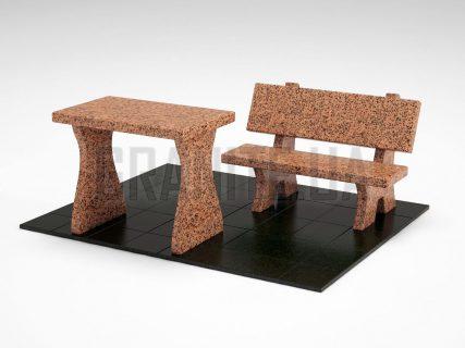 Лавка + Стіл LS-10 Симонівський граніт
