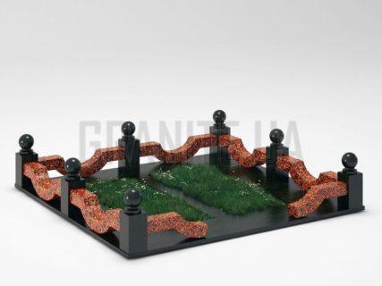 Могильна огорожа OG-01 Капустинський граніт