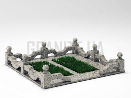 Могильна огорожа OG-01 Костянтинівський граніт