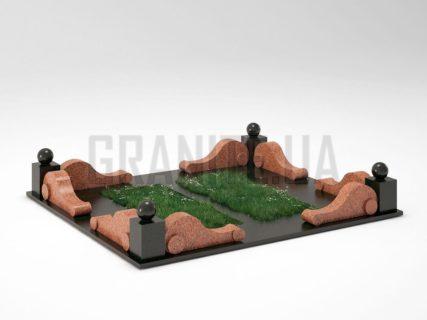 Могильна огорожа OG-05 Лезниківський граніт