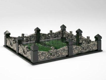 Могильна огорожа OG-27 Корнинський граніт