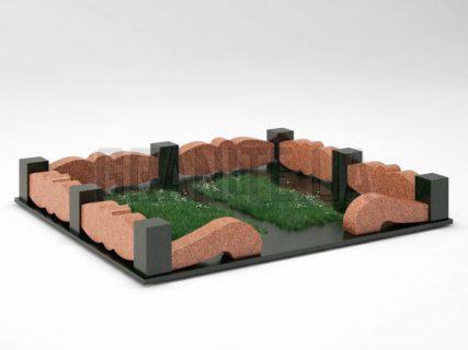 Могильна огорожа OG-32 Лезниківський граніт